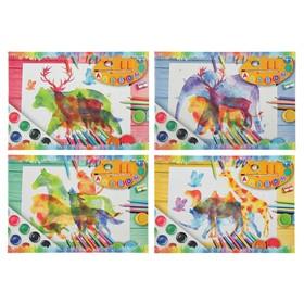 Альбом для рисования А4, 8 листов на скрепке «В мире животных», обложка мелованный картон, МИКС Ош