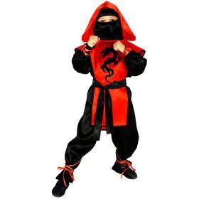 Карнавальный костюм «Ниндзя: Чёрный дракон», рубашка, брюки, защита, пояс, маска, р. 38, рост 146 см
