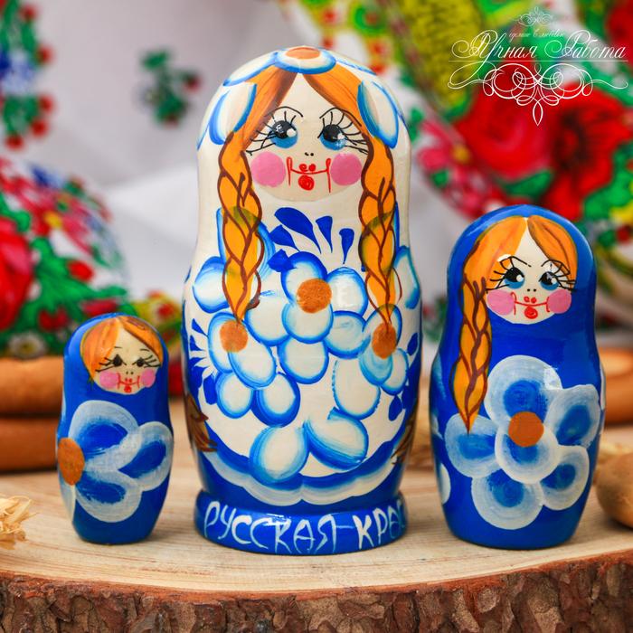 Матрёшка 3-х кукольная «Русская краса» (синяя), 11 см