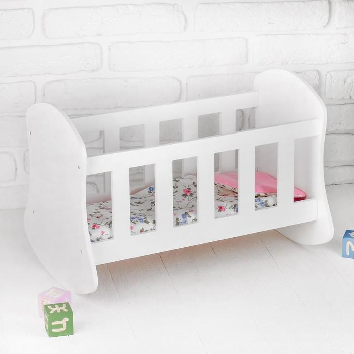 Кроватка – люлька «Люлилю» белая, с постельным бельём, МИКС - фото 76447715