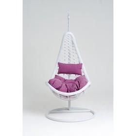 Подвесное кресло, с подушкой, искусственный ротанг, цвет белый, 44-001-04
