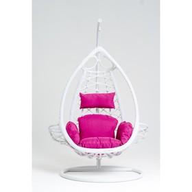 Подвесное кресло, с подушкой, искусственный ротанг, цвет белый, 44-004-08