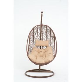 Подвесное кресло, с подушкой, искусственный ротанг, цвет коричневый, 44-004-11
