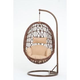 Подвесное кресло, с подушкой, искусственный ротанг, цвет коричневый, 44-004-13