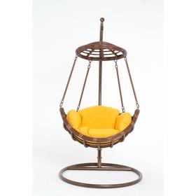 Подвесное кресло, с подушкой, искусственный ротанг, цвет коричневый, 44-004-18