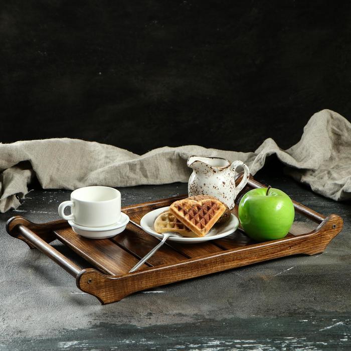 """Поднос для завтрака """"Ренессанс"""", 45 х 25 см, массив ясеня, цвет темный орех"""