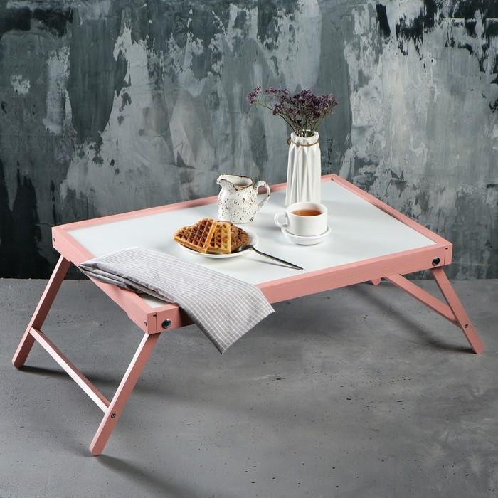 """Столик для завтрака """"Ренессанс"""", 60 х 40 см, цвет розовый, массив ясеня"""
