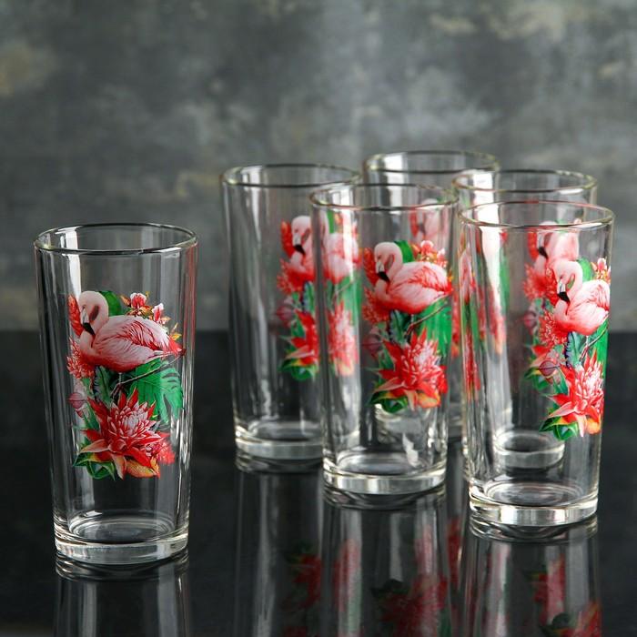 "Набор стаканов для сока 250 мл ""Фламинго"", 6 шт"