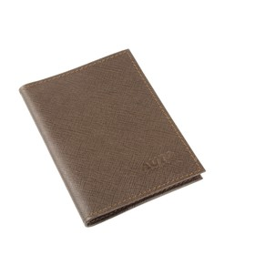 Обложка для автодокументов, без застёжки, цвет коричнево-серый, сафьян