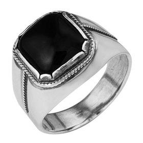 Ring man's silvering Black, size 19.