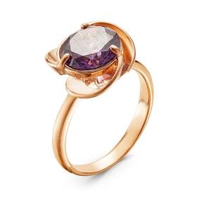 """Кольцо позолота """"Зефир"""", цвет фиолетовый, 16,5 размер"""