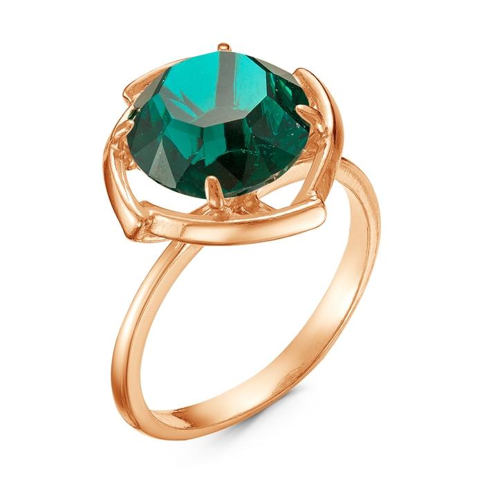 """Кольцо позолота """"Адель"""", цвет изумрудный, 17,5 размер"""