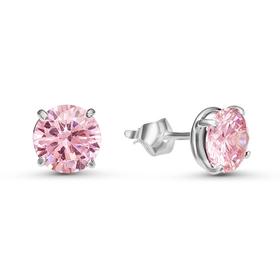 """Пусеты """"Сияние"""", посеребрение, цвет розовый"""