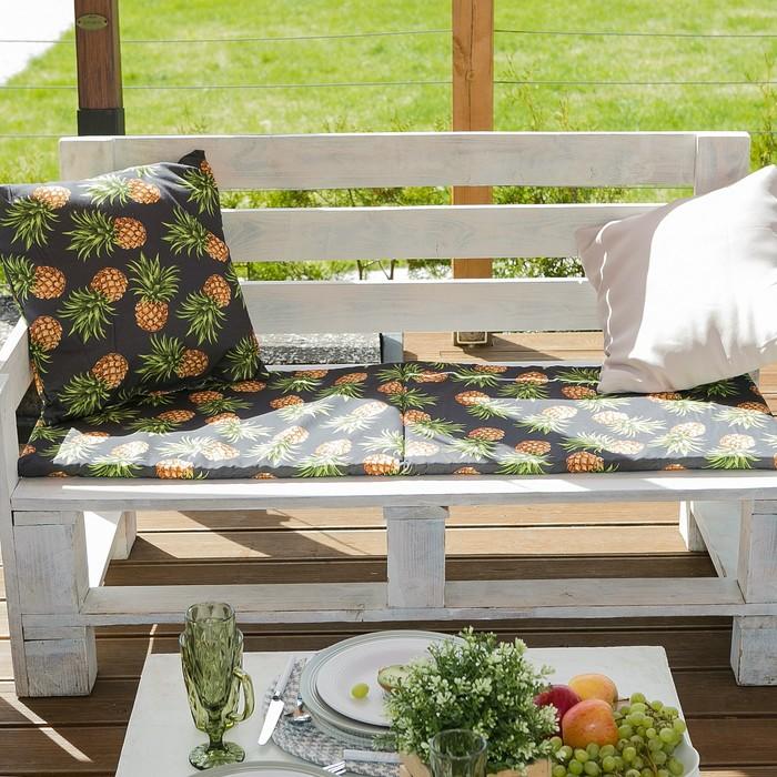 Подушка на двухместную скамейку «Этель» Ананасы, 45×120 см, репс с пропиткой ВМГО, 100% хлопок