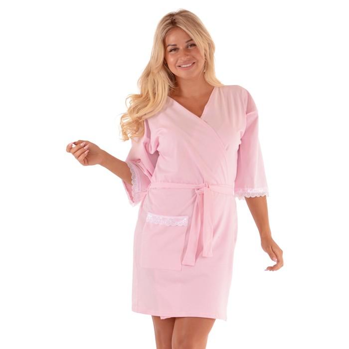 Халат женский запашной, цвет розовый, р-р 60