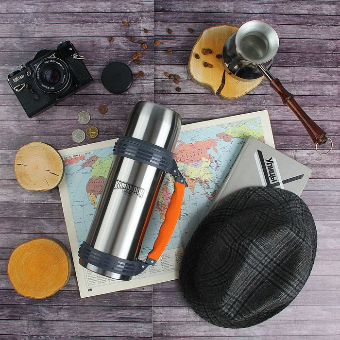 Термос туристический «Командор» с прорезиненной ручкой с изгибом, 1000 мл, 1 кружка, 24 ч, корпус хром