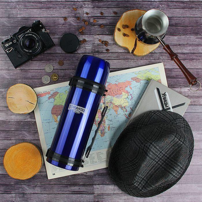 Термос туристический «Командор» с прямой ручкой, 1200 мл, 1 кружка, синий
