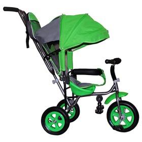 """Велосипед трёхколёсный Лучик Малют 1, надувные колёса 10""""/8"""", цвет зелёный"""
