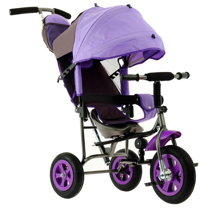 """Велосипед трёхколёсный Лучик Малют 1, надувные колёса 10""""/8"""", цвет фиолетовый"""