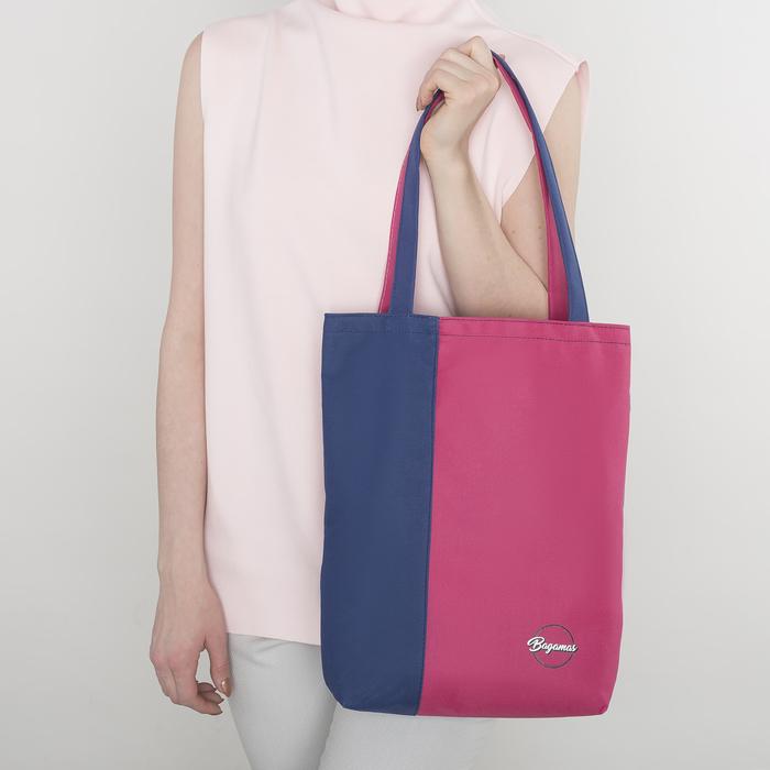 Сумка летняя, 1 отдел, без подклада, цвет синий/розовый
