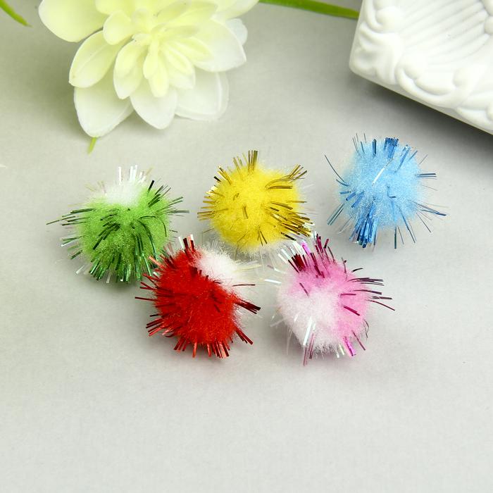 Помпоны для творчества, многоцветные, блестящие, 6 цветов, 15 мм, (набор 50 шт) - фото 705149169