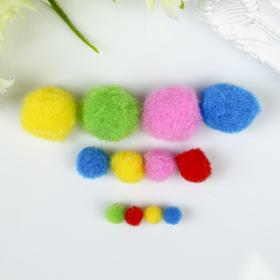 Помпоны для творчества, ассорти, 5 цветов, 8 мм/15 мм/25 мм, (набор 100 шт)