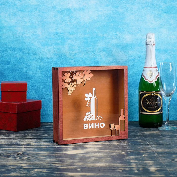 """Накопитель для пробок """"Вино"""", морёный, 22×6×22 см"""