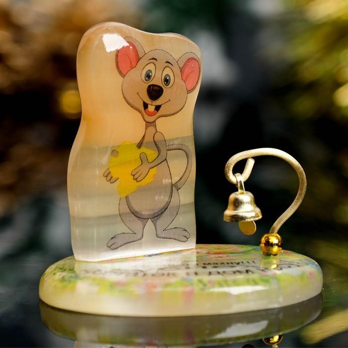 Сувенир Мышка на подставке с колокольчиком «Хвостиком махну,успех и достаток в дом несу», се