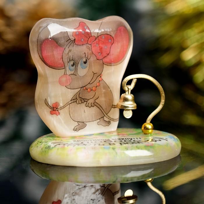 Сувенир Мышка на подставке с колокольчиком «Хвостиком махну,любовь и радость в дом несу!», с