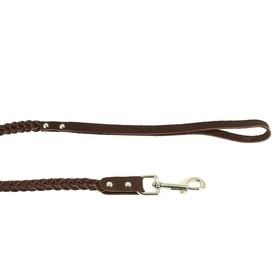 Поводок кожаный плетеный, 1,25 м х 1 см, микс цветов