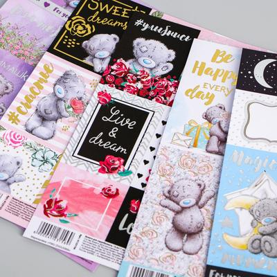 Paper for scrapbooking with foiling, Me To You, MIX, 15, 5x17 cm