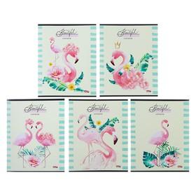 Тетрадь 48 листов в клетку «Розовые фламинго», обложка мелованная бумага, МИКС