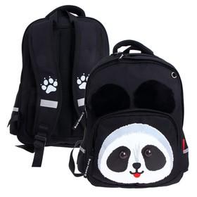 Рюкзак школьный Bruno Visconti, 40 х 30 х 16 см, эргономичная спинка, «Панда», чёрный