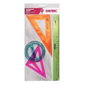 Набор чертёжный (линейка 30 см, треугольник 30°, треугольник-трафарет, транспортир 10 см)