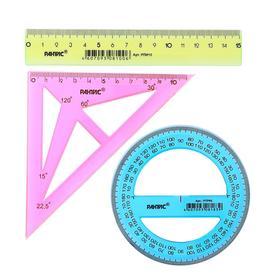 Набор чертёжный малый (линейка 15 см, транспортир 10 см, треугольник-трафарет) микс