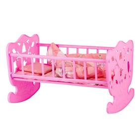 Кровать кукольная, с комплектом белья: матрас, подушка, одеяло (48х30см)