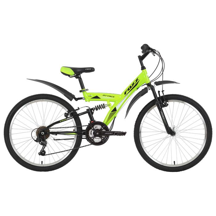 """Велосипед 24"""" Foxx Attack, 2019, цвет зелёный, размер 14"""""""