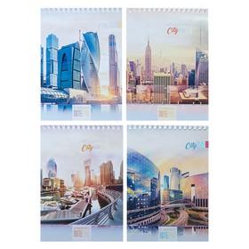 Блокнот А5, 40 листов на гребне «Города-мегаполисы», обложка картон хром-эрзац, второй блок, МИКС