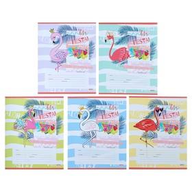 Тетрадь 12 листов в косую линейку «Фламинго и цветные волны», обложка мелованная бумага, МИКС