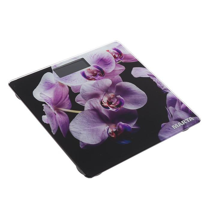 """Весы напольные MARTA MT-1676, электронные, до 180 кг, рисунок """"орхидея"""""""