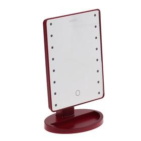 "Зеркало MARTA MT-2654, подсветка, 28x6x19.5 см, 16 светодиодов, 4хАА, цвет ""бордовый гранат"""