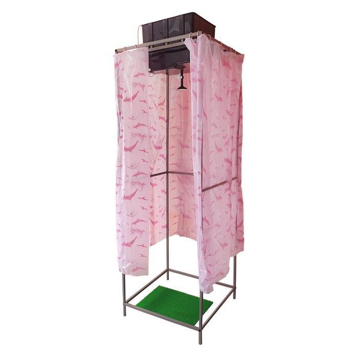 Душ дачный, 75 × 75 × 250 см, тент, бак пластиковый, 55 л, с ЭВН
