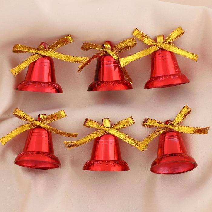 """Ёлочные игрушки """"Колокольчики с бантиком"""" (набор 6 шт.) микс"""
