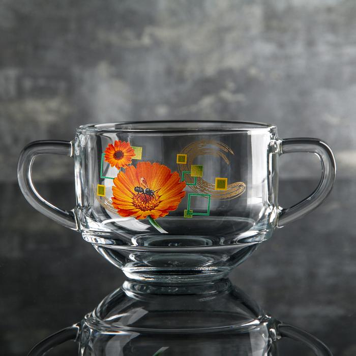 Кружка для бульона «Маргаритки» 480 мл, d=10,5 см, цвет разноцветный