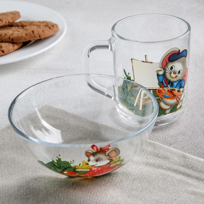 "Набор для завтрака ""Мышки"", 2 предмета: кружка 200 мл, салатник 12 см"