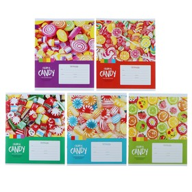 Тетрадь 12 листов в клетку «Леденцы. Colorful candy», обложка мелованный картон, ВД-лак, блок офсет, МИКС