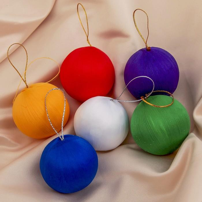 """Новогодние шары """"Тканевая гладь"""" (набор 6 шт.)"""