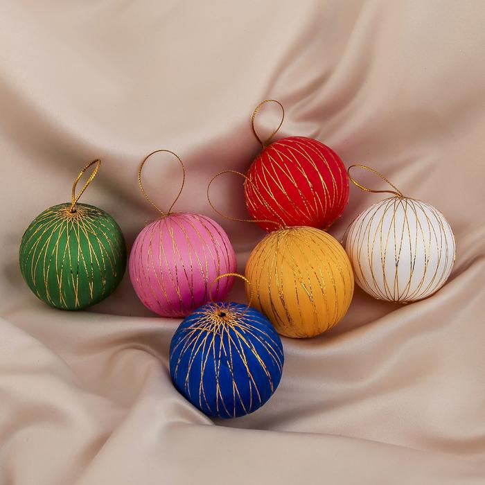"""Новогодние шары """"Золотая нить"""" (набор 6 шт.)"""