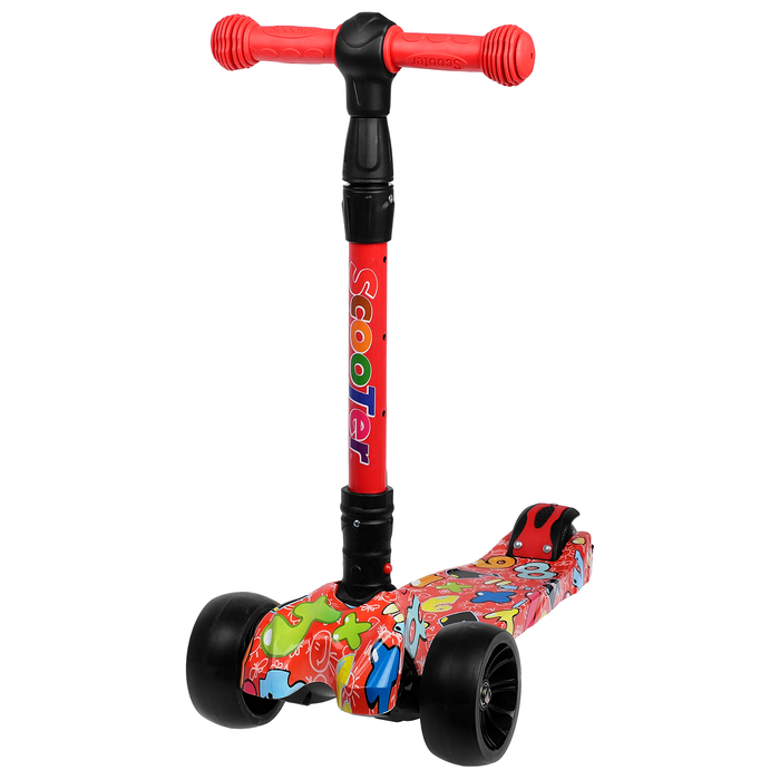 Самокат складной, колёса световые PU d=11/5 см, ABEC 7, складной до 65 кг, цвет красный