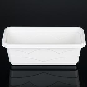 """Кашпо 40 см """"Квадро"""" с дренажной вставкой, цвет белый"""